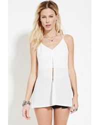 Forever 21 | White Slit-front Crochet-layered Cami | Lyst