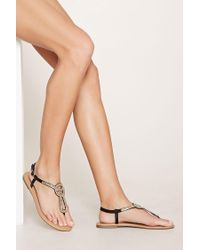 Forever 21 - Black Beaded Faux Leather Sandals - Lyst
