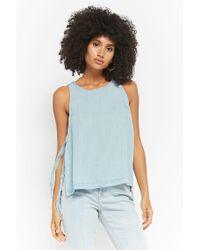 Forever 21 - Blue Women's Chambray Self-tie Top - Lyst
