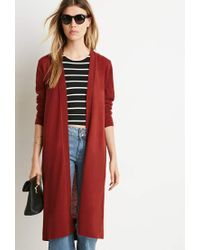 Forever 21 - Brown Classic Longline Cardigan - Lyst