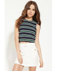 Forever 21 - Blue Women's Button-back Striped Top - Lyst