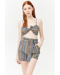 Forever 21 - Black Striped Paperbag Shorts - Lyst