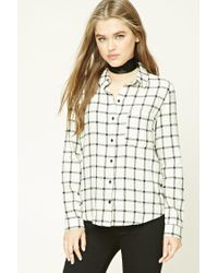 Forever 21 - Natural Check Flannel Shirt - Lyst