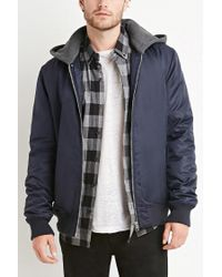 Forever 21 | Blue Padded Nylon Hooded Jacket for Men | Lyst