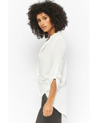 Forever 21 - White Twist-front High-low Shirt - Lyst
