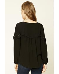 Forever 21 - Black Crochet Lace-trimmed Top - Lyst