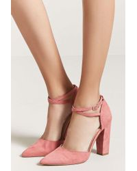 Forever 21 - Pink Faux Suede Ankle-strap Heels - Lyst