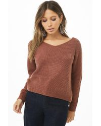 Forever 21 - Brown Ribbed Twist-back Sweater - Lyst