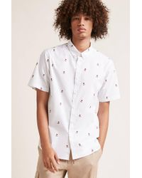 Forever 21 - White Slim-fit Rose Print Shirt for Men - Lyst