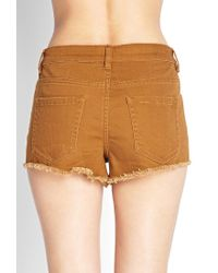 Forever 21 - Orange Solid Denim Cutoffs - Lyst