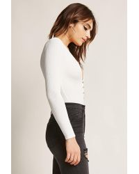 Forever 21 - White Ribbed Snap-button Bodysuit - Lyst