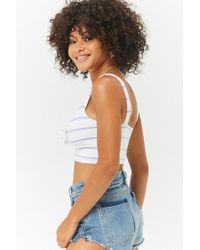 Forever 21 - White Women's Striped Crop Camisole Top - Lyst
