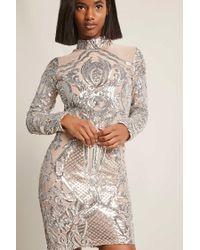 5d111bbbadb Forever 21 Ornate Mesh Dress in Metallic - Lyst