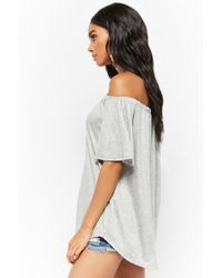 Forever 21 - Gray Slub Knit Button-front Off-the-shoulder Top - Lyst