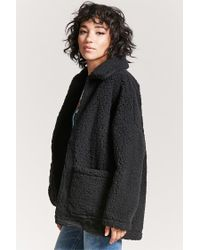 Forever 21 - Black Open-front Faux Shearling Coat - Lyst