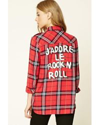 Forever 21 Red Rock N Roll Plaid Shirt