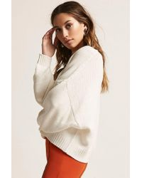 Forever 21 Natural Oversized Purl Knit Top