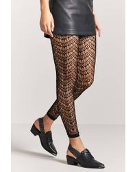 Forever 21 - Black Footless Geo-cutout Tights - Lyst