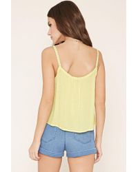 Forever 21 - Yellow Crochet-trim Cami - Lyst