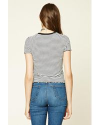 Forever 21 - Black Striped Scalloped Tee - Lyst