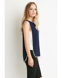 Forever 21 - Blue Colorblocked Side Panel Top - Lyst