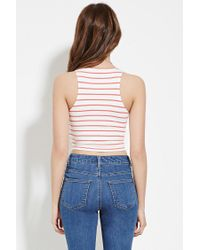 Forever 21 - Red Women's Stripe Crop Top - Lyst