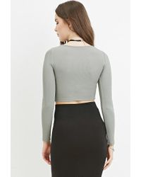 Forever 21 | Green V-neck Ribbed Crop Top | Lyst