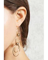 Forever 21 - Metallic Tiered Hoop Drop Earrings - Lyst