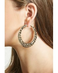 Forever 21 - Metallic Hammered Hoop Earrings - Lyst