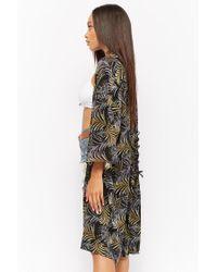 Forever 21 - Black Leaf Print Kimono - Lyst