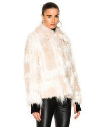 Helmut Lang - Natural Shawl Collar Faux Fur Jacket - Lyst