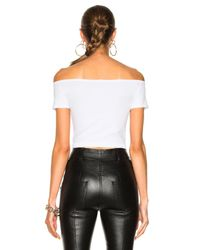 Helmut Lang - White Cropped Off Shoulder Seamless Top - Lyst