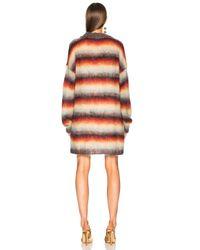 Chloé - Orange Striped Brushed Mohair Cardigan - Lyst