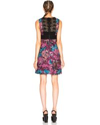 Burberry Prorsum - Multicolor Printed Lace and Cotton-blend Dress - Lyst