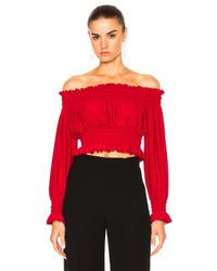 Norma Kamali | Red Cropped Peasant Top | Lyst