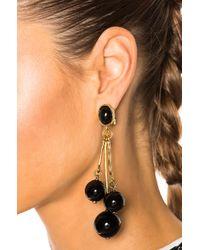 Oscar de la Renta - Black Resin 3 Ball Drop Earring - Lyst