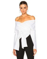 Rosetta Getty | White Cotton Faille Wrap Panel Jacket | Lyst