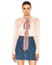 See By Chloé | Blue Tie Neck Blouse | Lyst