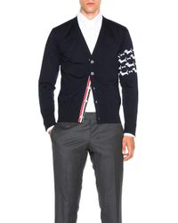 Thom Browne | Blue Hector Embroidery Cardigan | Lyst