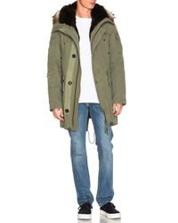 Yves Salomon | Green Canvas Parka With Natural Rabbit And Coyote Fur | Lyst