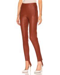 Zeynep Arcay - Red Stretch Leather Stirrup Pants In Brick - Lyst