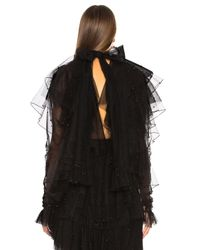 Rodarte Tulle & Black Pearl Low Back Tiered Blouse