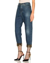 Saint Laurent - Blue Sequin Embellished Baggy Jeans - Lyst