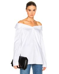 df966dbb1e8 Tibi Notched Off Shoulder Shirt in White - Lyst