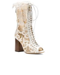 Brother Vellies | White For Fwrd Exclusive Lace Open Toe Lali Boots | Lyst