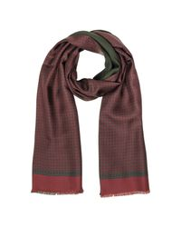 Forzieri - Purple Micro Floral Print Silk & Modal Reversible Men's Scarf for Men - Lyst