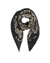 Roberto Cavalli - Natural Black Pattern And Leopard Print Silk Square Scarf - Lyst