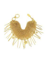 Roberto Cavalli - Metallic Lux Golden Metal Mesh Bracelet W/crystals - Lyst