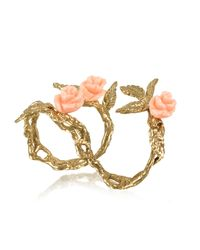 Bernard Delettrez | Metallic Two Fingers Leafy Bronze Ring W/3 Pink Resin Roses | Lyst