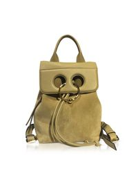 J.W. Anderson - Metallic Gold Suede And Leather Mini Pierce Backpack - Lyst